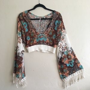Free People bell sleeve crop top